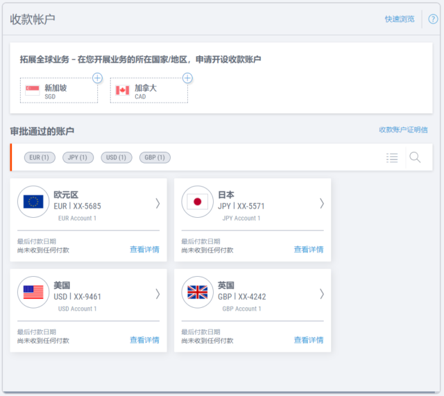 Payoneer Global Payment Service 账户